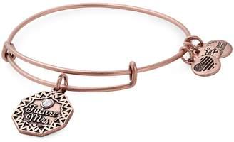 Alex and Ani Future Mrs Rose Goldtone Swarovski Crystal Charm Bangle Bracelet