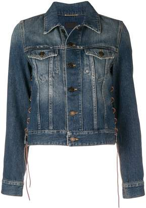 Saint Laurent lace-up detail denim jacket