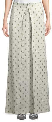 Valentino Floor-Length Hammered Metallic Rose-Print A-Line Skirt