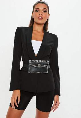 Missguided Black Skinny Tux Blazer Jacket