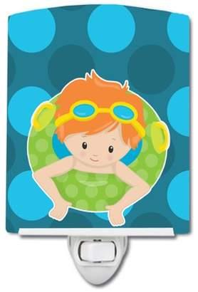 Pool' Caroline's Treasures Summer Pool Boy in Tube Ginger Ceramic Night Light