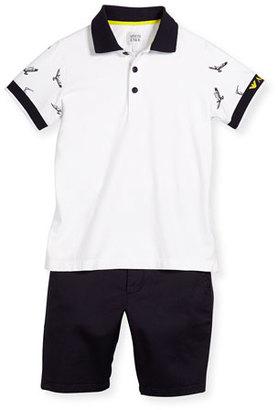 Armani Junior Short-Sleeve Polo Shirt & Twill Shorts Set, Light Almo, Size 10-14 $220 thestylecure.com