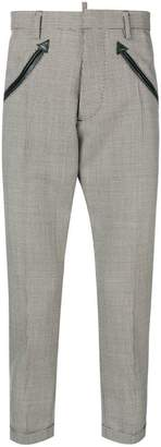 DSQUARED2 arrow embroidered checked trousers