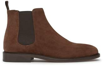 Reiss Tenor Suede - Suede Chelsea Boots in Mid Brown