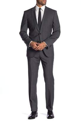 BOSS Grey Windowpane Two Button Notch Lapel Wool Suit