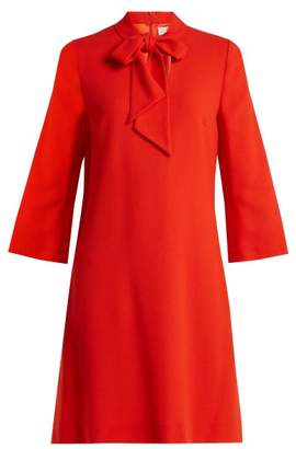 Goat Ginny Neck Tie Wool Crepe Dress - Womens - Red