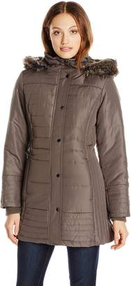 Weathertamer Weather Tamer Women's Mid Length Puffer Coat with Faux Fur Trim Hood