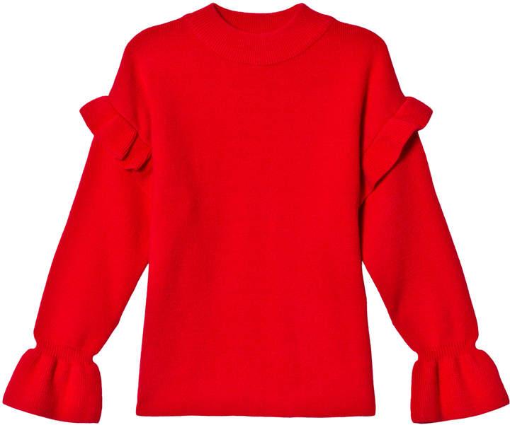 Bardot Junior Red Ayla Ruffle Knit Jumper