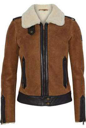 Belstaff Shearling And Leather-Trimmed Suede Jacket