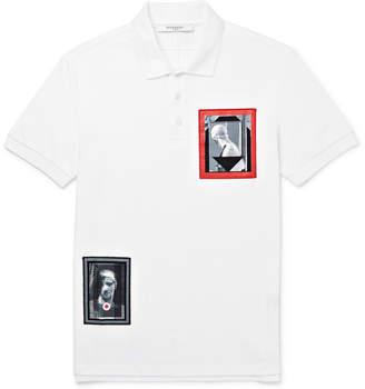 Givenchy Cuban-Fit Appliquéd Cotton-Piqué Polo Shirt