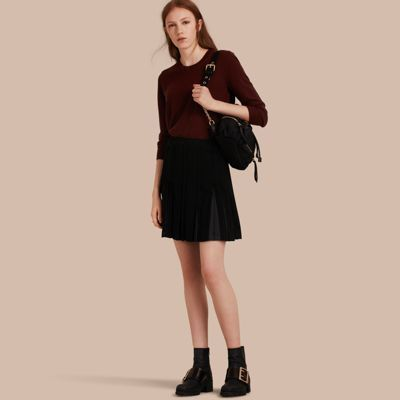 Burberry Two-tone Satin Pleated Skirt