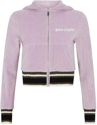 Palm Angels Cropped Chenille Zip-Up Hoodie