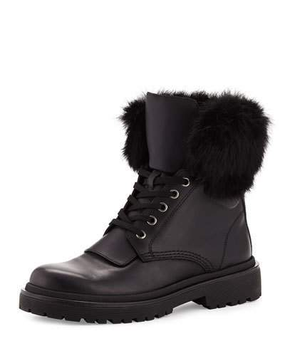Moncler Moncler Patty Fur-Collar Hiker Boot, Black