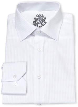 English Laundry White Tonal Stripe Cotton Dress Shirt