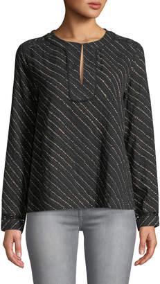 Lilla P Split-Neck Diagonal-Print Long-Sleeve Blouse