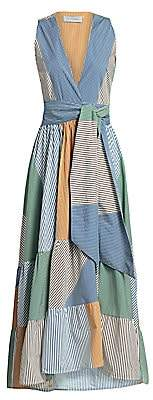 Silvia Tcherassi Women's Harmony Belted Patchwork Pinstripe Maxi Dress