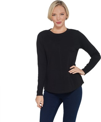 Isaac Mizrahi Live! SOHO Long Sleeve Crew-Neck Knit Top