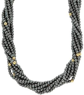 Lagos 18K Yellow Gold and Sterling Silver Caviar Icon Hematite Multi Strand Necklace, 18""