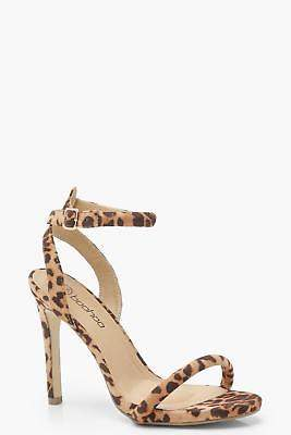 boohoo NEW Womens Wide Fit Leopard Two Part Heels in