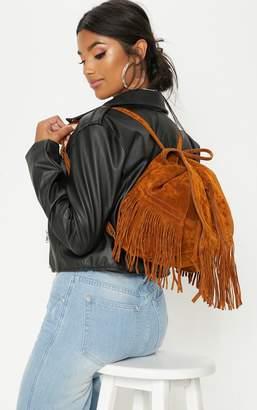 PrettyLittleThing Tan Suedette Fringe Backpack