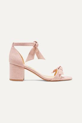 Alexandre Birman Clarita Bow-embellished Linen Sandals - Pastel pink