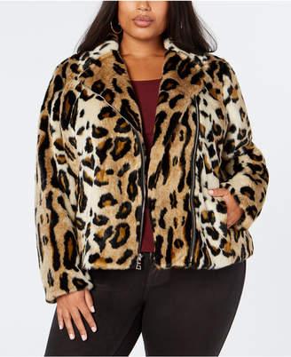 INC International Concepts I.n.c. Plus Size Leopard-Print Faux-Fur Moto Jacket, Created for Macy's