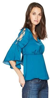 Ella Moon Women's Oaklyn V-Neck Lace Up Sleeve Empire Waist Top