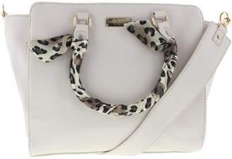 BCBGMAXAZRIA Womens Faux Leather Animal Print Satchel Handbag Beige Medium