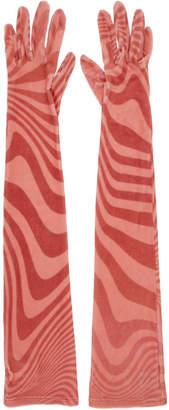 Marine Serre SSENSE Exclusive Pink Striped Jersey Long Gloves