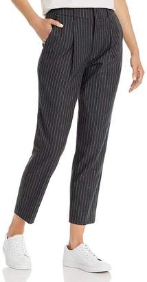 Anine Bing Becky Cropped Pinstriped Pants