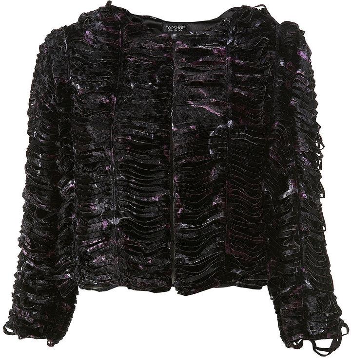Topshop Floral Slash Velvet Jacket
