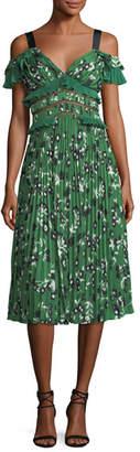 Self-Portrait Cold-Shoulder Floral-Print Midi Dress with Pleats & Frills