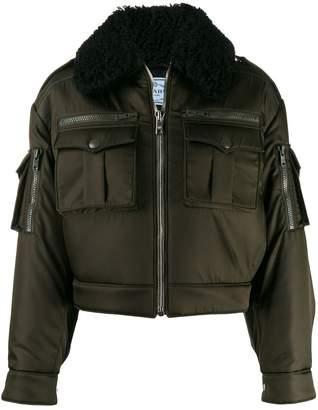 Prada shearling collar aviator jacket