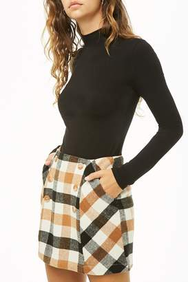 Forever 21 Button Plaid Mini Skirt