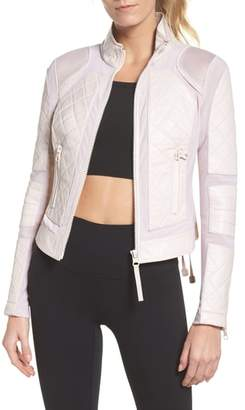 Blanc Noir Leather & Mesh Moto Jacket