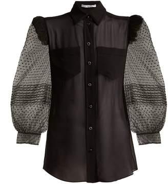 Polka-dot silk blouse