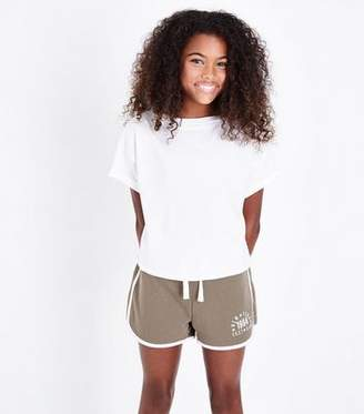 New Look Teens Khaki East Side Slogan Shorts