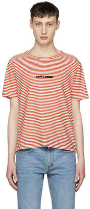 Saint Laurent White and Red Striped Logo T-Shirt
