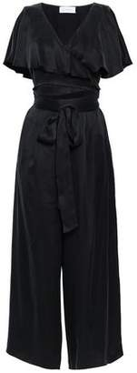 Zimmermann Cutout Ruffled Washed-silk Wrap Jumpsuit