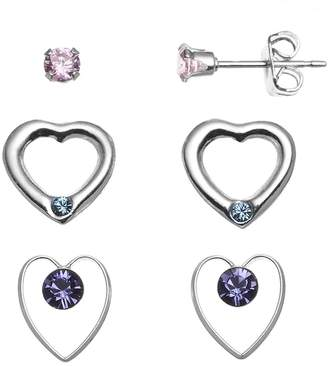 Swarovski Charming Girl Kids' Sterling Silver Cubic Zirconia Stud & Crystal Heart Earring Set - Made with Crystals