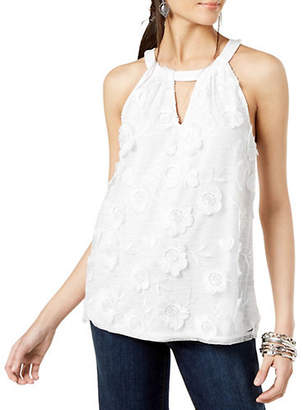 INC International Concepts Textured Lace-Front Halter Top