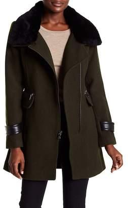 Trina Turk Aubree Genuine Shearling Trim Wool Blend Coat