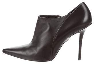 Roger Vivier Leather Pointed-Toe Ankle Boots