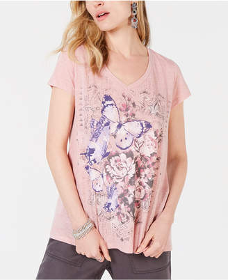 Style&Co. Style & Co Butterfly Floral-Graphic T-Shirt