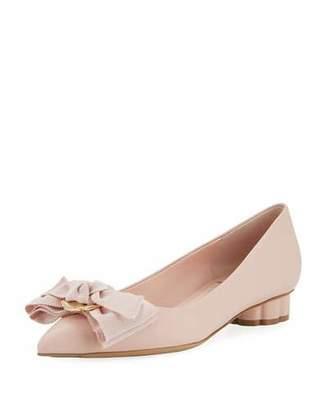 Salvatore Ferragamo Flower-Heel Ballet Flat with Fringe Bow, Pink (Bonbon)