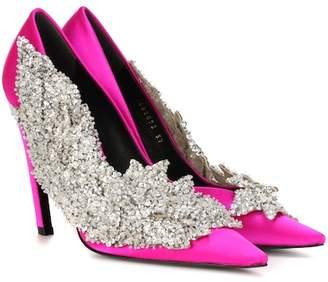 Balenciaga Embellished satin pumps