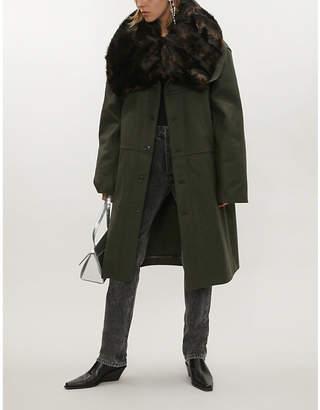 Y/Project Faux fur-collar oversized wool-blend coat