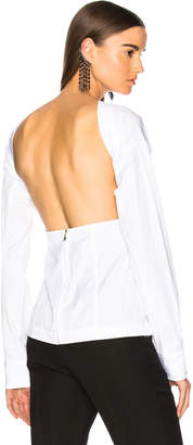 Victoria Beckham Cotton Shirting Backless Blouse