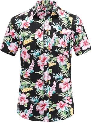 54bbd1abb30 JEETOO Men s Casual Flower Print Short Sleeve Button Down Hawaiian Aloha  Shirt