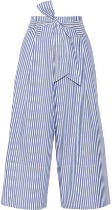 By Malene Birger - Bennih Cropped Striped Cotton-poplin Wide-leg Pants - Blue $375 thestylecure.com